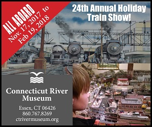 The 24th Annual Holiday Train Show - All Aboard from November 17 to February 19, 2018 at CT River Museum - Click here for schedule, tickets & more information