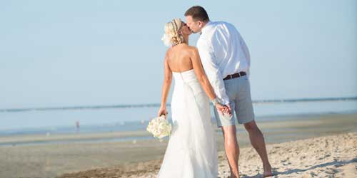 Beach Wedding Couple Ocean Edge Resort & Golf Club Brewster Massachusetts