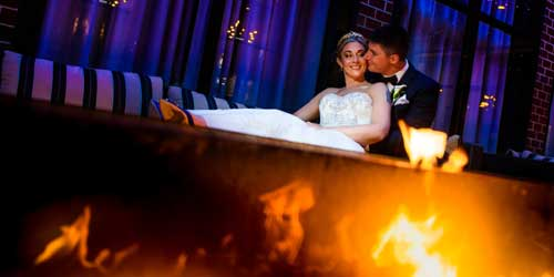 Bride and Groom Firepit - Hilton Mystic - Mystic, CT - Photo Credit Chris Nachtwey Photography