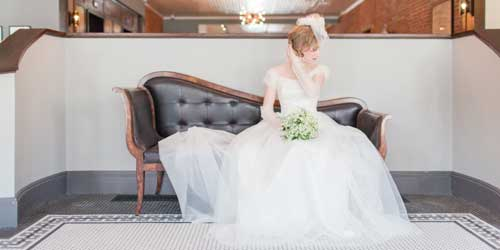 Bride on Classic Couch - Hotel on North - Pittsfield, MA