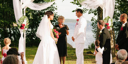Lakeside Wedding Ceremony - Point Sebago Golf Resort - Casco, ME