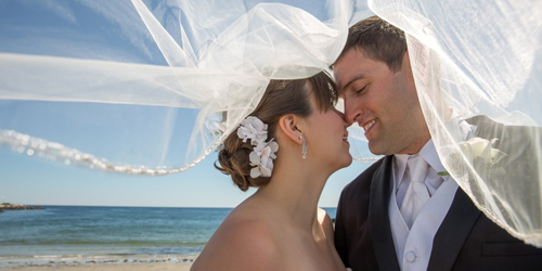 Bride & Groom Beachside - Nonantum Resort - Kennebunkport, ME - Photo Credit LAD Photography