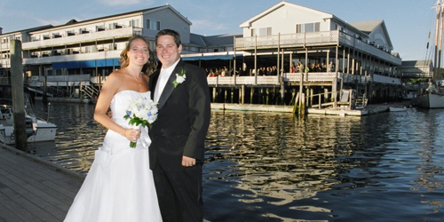 Bride & Groom on the Dock - Fisherman's Wharf Inn - Boothbay Harbor, ME