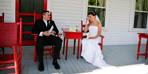 Bride & Groom on Porch - Echo Lake Inn - Ludlow, VT