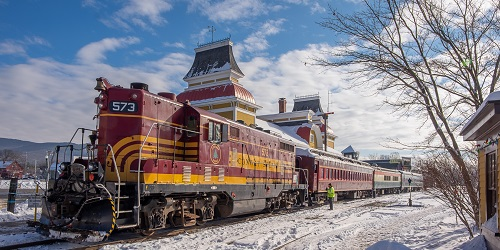 Winter Bartlett Train - Conway Scenic Railroad - North Conway, NH