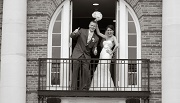 Bride & Groom at Balcony - Inn at Middletown - Middletown, CT