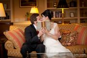 Wedding Couple in Library - Lord Jeffery Inn - Amherst, MA